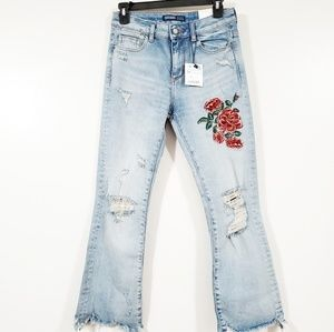 ZARA BASIC  Embroidery Rose Mini Flare Jeans